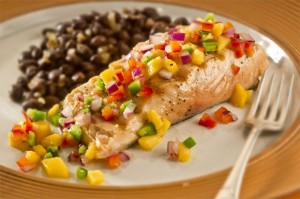 Poached Salmon with Mango Salsa and fresh Dill