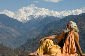 Yogi, enjoying natural beauty in solitude