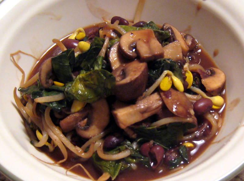 kale and mushroom stir-fry
