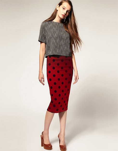 boxy top with pencil skirt