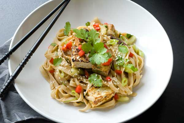 Delicious gluten Free tofu with noodle salad