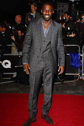 Idris Elba in suede cuban heeled chelsea boots