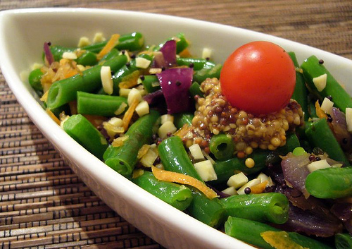 French Bean salad - a treat for your eye and stomach (using chevril and ground pepper )