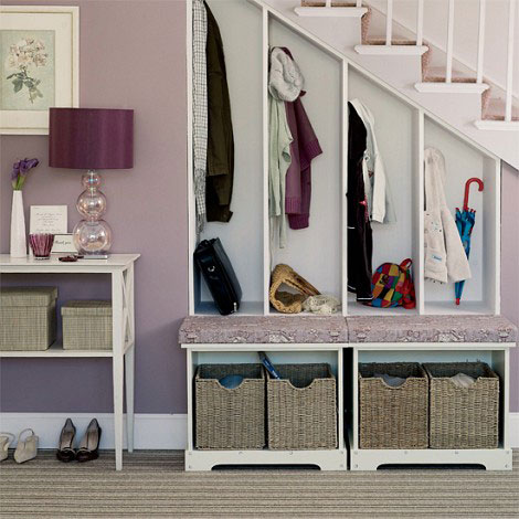 Under the stairs makes a perfect storage room :)